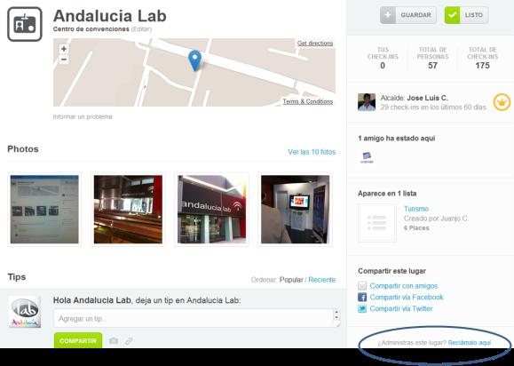 Reclama tu sitio, lugar o empresa en Foursquare