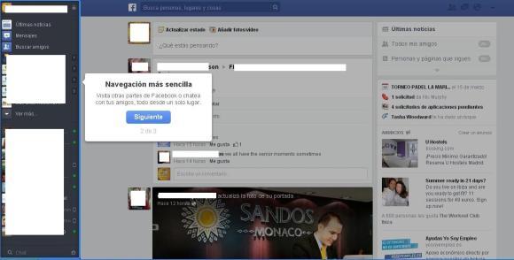 Nueva barra lateral diseño facebook